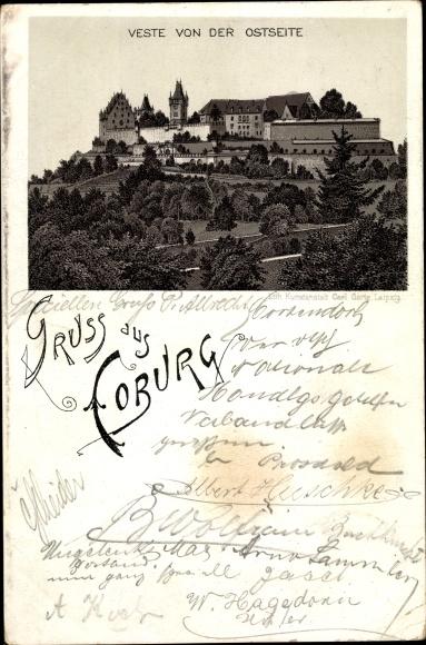 Litho Coburg in Oberfranken, Veste von der Ostseite 0