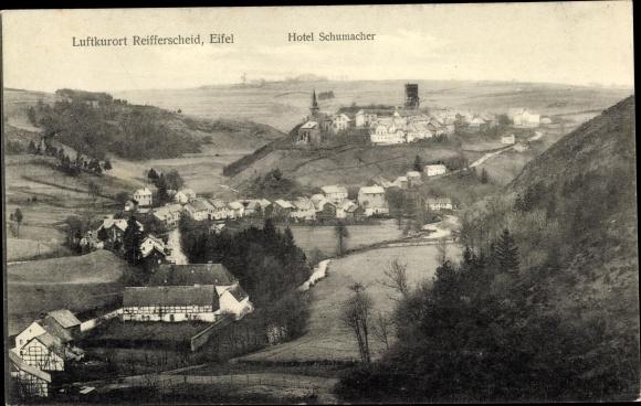 Ak Reifferscheid Hellenthal Euskirchen Nordrhein Westfalen, Panorama, Hotel Schumacher 0