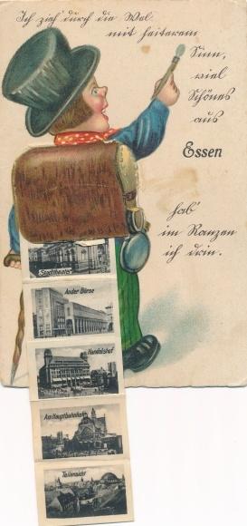 Leporello Ak Essen im Ruhrgebiet, Die Groß-Industrie, Villa Hügel Margaretenhöhe, Stadttheater 0
