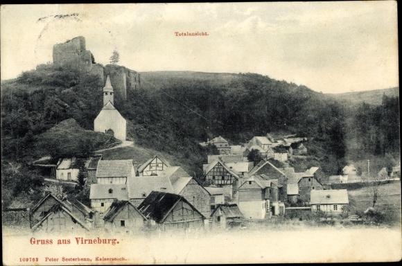 Ak Virneburg Rheinland Pfalz, Panorama, Burgruine 0