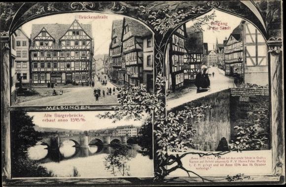 Ak Melsungen in Nordhessen, Brückenstraße, Alte Bürgerbrücke, Stadteingang 0
