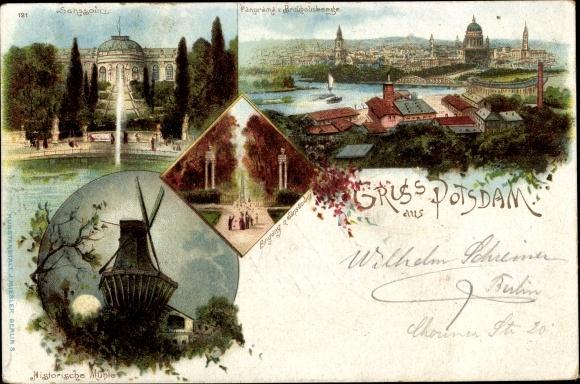 Litho Potsdam in Brandenburg, Sanssouci, Historische Mühle, Panorama vom Brauhausberg 0