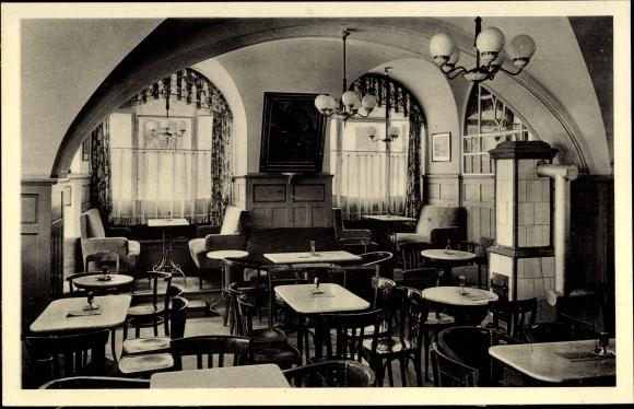 Ak Bautzen in der Oberlausitz, Konditorei, Café Lehmann, Innenansicht, Wendische Straße 0