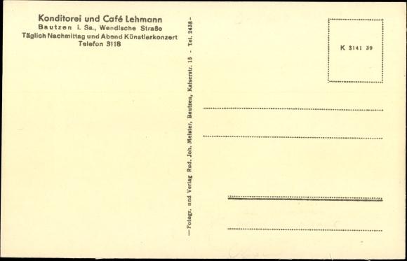 Ak Bautzen in der Oberlausitz, Konditorei, Café Lehmann, Innenansicht, Wendische Straße 1