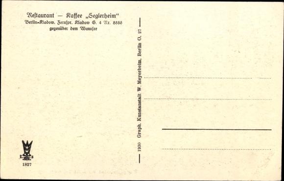 Ak Berlin Spandau Kladow, Dampferstation, Insel Imchen, Restaurant Seglerheim 1