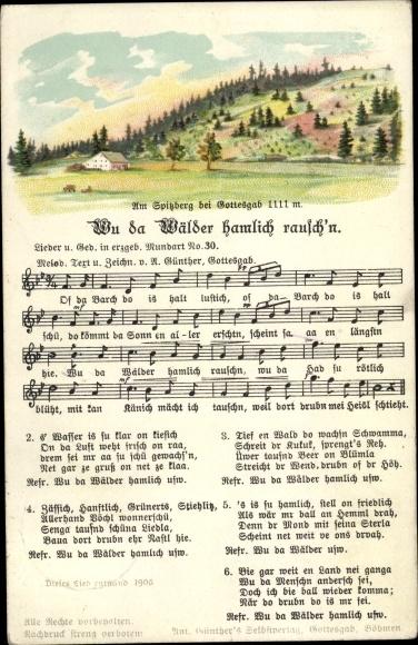 Lied Ak Anton Günther, Wu de Wälder hamlich rausch'n, Erzgebirgische Mundart Nr. 30, Spitzberg 0