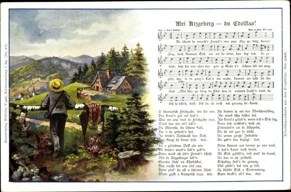Lied Ak Mei Arzgeberg, du Eldestaa, Erzgebirge, Wilhelm Vogel 0