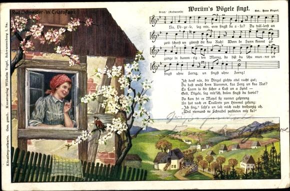 Lied Ak Worüm's Vögele singt, Frau am Fenster, Wilhelm Vogel 0