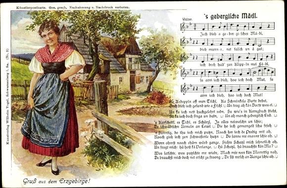 Lied Ak 's gebergische Mädl, Wilhelm Vogel, Erzgebirge 0