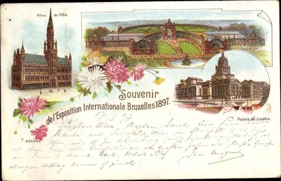 Litho Bruxelles Brüssel, Weltausstellung 1897, Palais de Justice, Hotel de Ville 0