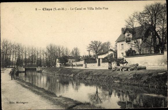 Ak Claye Souilly Seine et Marne, La Canal et Villa Belle Vue 0