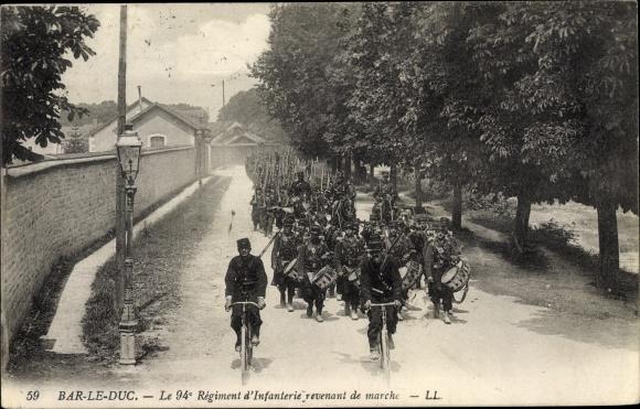 Ak Bar-le-Duc Meuse, Le 94 Regiment d'Infanterie revenant de marche 0