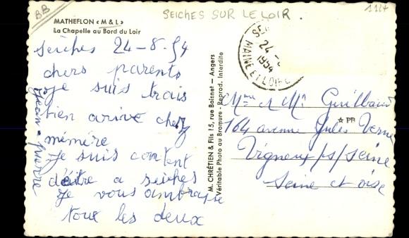 Ak Matheflon Maine et Loire, La Chapelle au Bord du Loir, barque 1