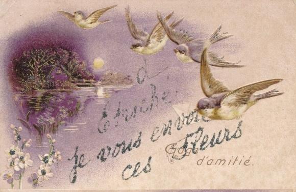 Glitzer Präge Ak Etriche Maine et Loire, Gage d'amitie, fleurs, oiseaux 0