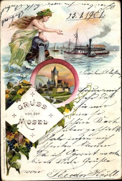 Litho Gruß von der Mosel, Salondampfer, Burg 0