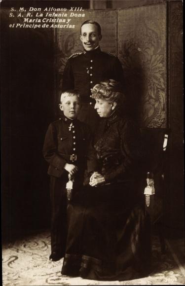 Ak König Alfons XIII von Spanien, Dona Maria Cristina, Prinz von Asturien 0