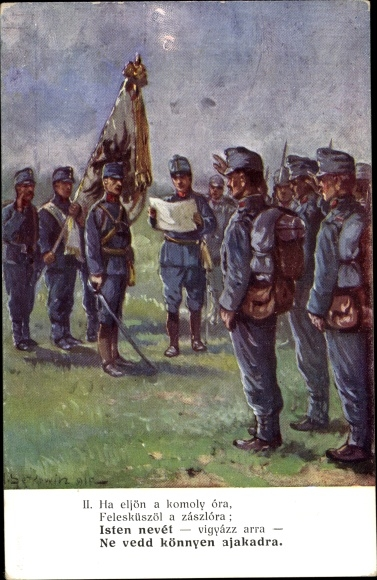 Künstler Ak KuK Soldaten, Fahne, Ungarn 0