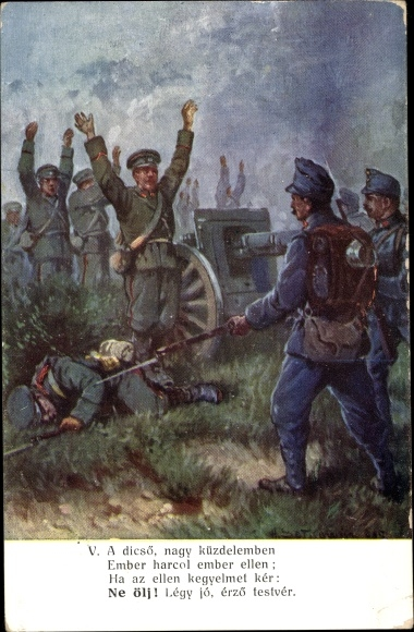 Künstler Ak KuK Soldaten, Feinde, Schlachtszene, Ungarn 0