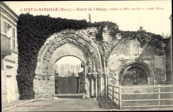 Ak Ivry la Bataille Eure, Portail de l'Abbaye 0