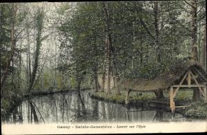 Ak Gasny Eure, Sainte Genevieve, Lavoir sur l'Epte