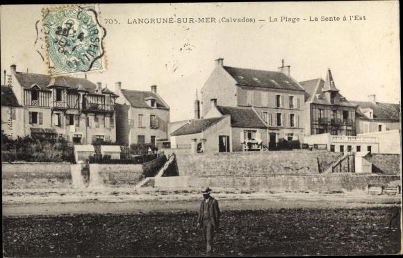 Ak Langrune sur Mer Calvados, La Plage, La Sente a L'Est 0