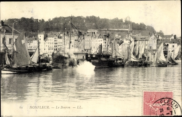 Ak Honfleur Calvados, Le Bouron, Segelboote 0