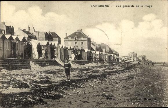 Ak Langrune sur Mer Calvados, Vue generale de la Plage 0