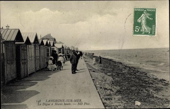 Ak Langrune sur Mer Calvados, La Digue a Maree baute 0