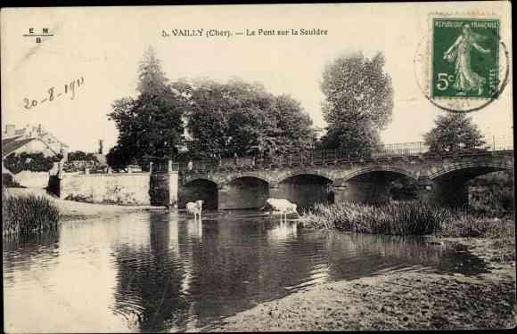 Ak Vailly Cher, Le Pont sur la Sauldre 0