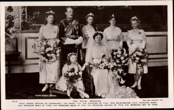 Ak Royal Wedding, Prince Arthur of Connaught, Princess Mary of Teck, Helena, May, Maud 0