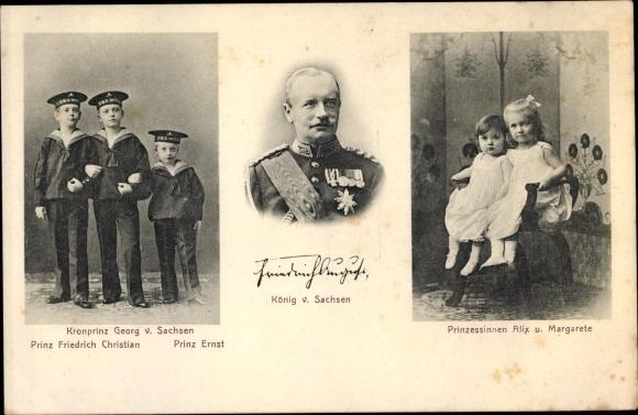 Ak Kronprinz Georg von Sachsen, Friedrich Christian, Ernst, Alix, Margarete, König Friedrich III 0