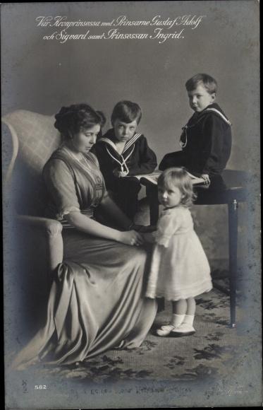 Ak Kronprinzessin von Schweden, Margaret of Connaught, Gustav Adolf, Sigvard, Ingrid 0