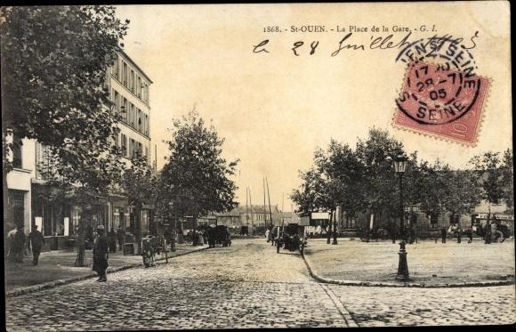 Ak Saint Ouen Seine Saint Denis, La Place de la Gare 0