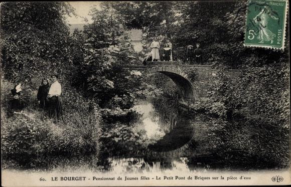 Ak Le Bourget Seine Saint Denis, Pensionnat de Jeunes filles, Petit Pont de Brisques 0