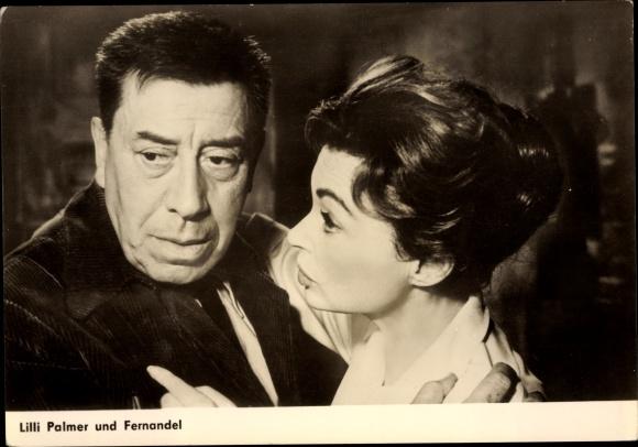 Ak Schauspielerin Lilli Palmer, Fernandel 0