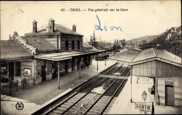 Ak Triel Yvelines, Vue generale sur la Gare 0