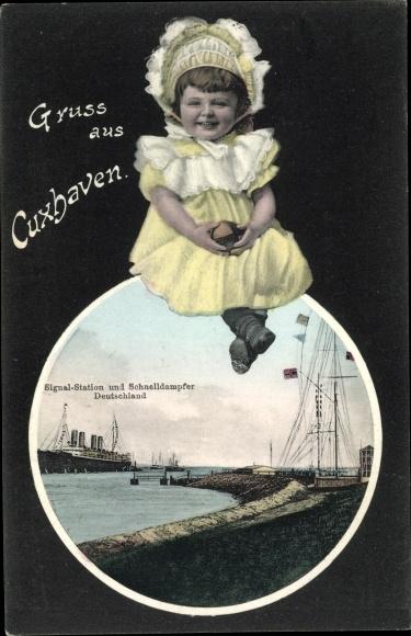 Ak Cuxhaven in Niedersachsen, Signalstation, Schnelldampfer Deutschland, Mädchen 0