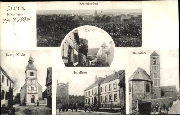 Ak Dalsheim Rheinhessen, Gesamtansicht, Schule, Kirchen, Obertor 0