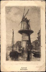 Ak Rotterdam Südholland Niederlande, Coolvest, Windmühle