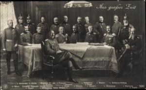 Ak Aus großer Zeit, Kaiser Wilhelm II., Prinzen, Generalstab, Hindenburg, Ludendorff, NPG 5090