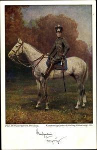 Künstler Ak Kronprinz Wilhelm von Preußen, Pferd, Totenkopfhusar