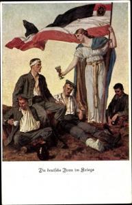 Künstler Ak Die deutsche Frau im Kriege, Fahne, verwundete Soldaten
