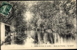 Ak Combs la Ville Seine et Marne, Bords de l'Yerres, le Lavoir