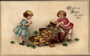 Litho Glückwunsch Neujahr, Zwei Kinder, Portemonnaie, Münzen, Kleeblätter