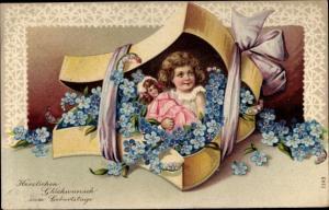 Litho Glückwunsch Geburtstag, Mädchen, Puppe, Vergissmeinnicht