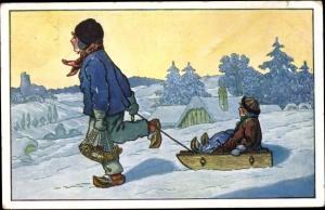 Künstler Ak Zwei Kinder mit Schlitten in Winterlandschaft, Fisch