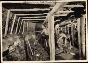 Ak Gewinnung der Kohle mittels Abbauhammer, Bergleute, Bergwerk