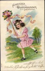 Litho Glückwunsch Geburtstag, Mädchen mit Blumenstrauß