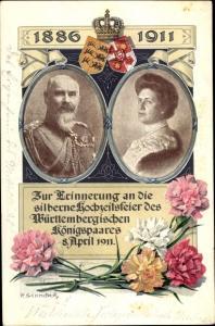 Ak Erinnerung Hochzeitstag des württembergischen Königspaares, 8. April 1911