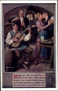 Künstler Ak Kuderna, F., deutsch sein Nr 8, Menschen in Wirtschaft, küssendes Paar, Gitarrenspieler
